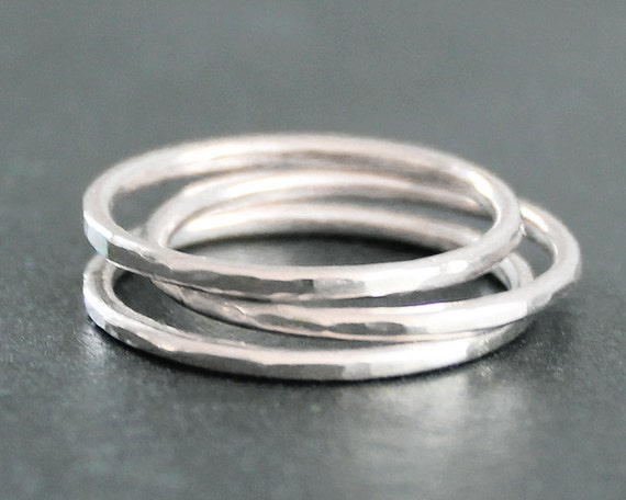 Argentium Sterling Silver Band (1 Ring) - Smooth, Faceted or Hammered - 16 Gauge / 1.3mm
