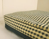 Dog Bed Cover  Reversible Soft Blue Microfiber/Blue and Yellow Check Upsholstery   23 x 27
