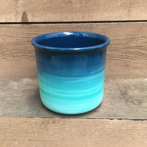 Ceramic Crock Or Utensil Holder Large Turquoise Ombre