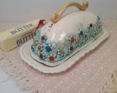 Butter dish/lidded butter dish/unique butter dish/millefiori/serving diah/shower gift/ready to ship