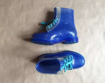 vintage 90's plastic ankle boots / booties / lace up boot / Doc Marten style