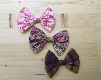 Hair bow set 3 pack pink purple floral plaid