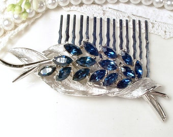 TRUE Vintage Navy Blue Rhinestone Silver Bridal Hair Comb, Sapphire Marquise Crystal Floral Spray Brooch to OOAK Wedding Haircomb Hairpiece