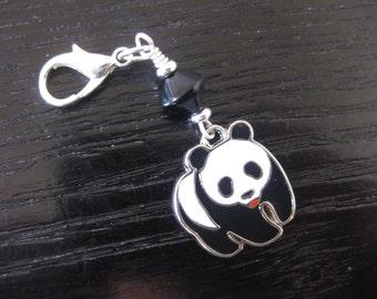 Adorable Enameled Panda Charm Zipper Pull Purse Charm