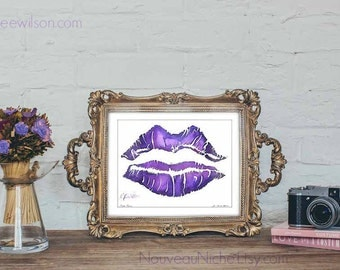 Watercolor Prints Gifts for Her Purple Lover Gifts Watercolor Lips Purple Lips Painting Lipstick Print Ultra Violet Art Pop Art Print