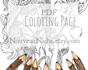 Printable Coloring Sheet Mindfulness Gift Adult Coloring Pages Instant Download Colouring Page Art Therapy Digital Download Fish Coloring
