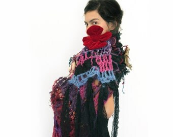 "Bohemian Crochet scarf romantic lace scarf Fiber Art Scarf ""Mystique of Sunset""  Flower Brooch Shabby chic Boho hippie Gypsy FREE Shipping"