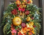 Thanksgiving Wreath, Designer Wreaths, Cornucopia Wreath, Fall Wreath, XXL Wreaths, Autumn Door Wreath