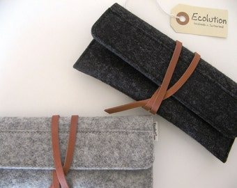 Minimalist wool felt leather case-sunglasses-pencil case-grey-handmade-soft-multi functional -durable-eco friendly-great gift