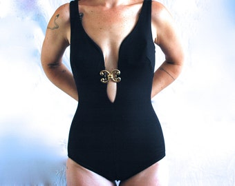 60s 70s One Piece Bathing Suit Black Medium/Large
