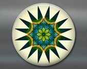 "3.5"" mandala art refrigerator magnet, colourful fridge magnet kitchen decor, green and yellow spiritual decor, housewarming gift MA-MAND-27"