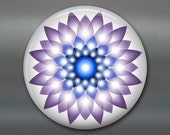 mandala refrigerator magnet, fridge magnet kitchen decor, purple and blue floral decor, spiritual decor, housewarming gift MA-MAND-36 LT