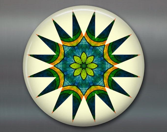 "3.5"" mandala art refrigerator magnet, colourful fridge magnet kitchen decor, green and yellow spiritual decor, housewarming gift MA-MAND-27"