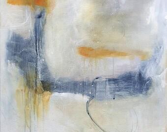 original abstract acrylic painting canvas white grey orange art