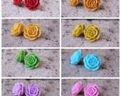 SWEET SERIES -  Open Rose Earrings  . . . Buy 3 Get 1 FREE . . . Great Bridesmaids Gifts, Large Rose Earrings, Cabochon Earrings