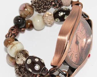 Copper Kiss Interchangeable Beaded Bracelet Watch Band