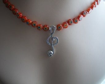 Silver Treble Clef Music Note,  Skull, Gothic, Necklace, Beaded Orange Millefiori Necklace, by Brendas Beading on Etsy