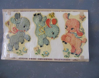 Vintage Dog Decals, 50s, Animals, lambs,  Nursery Decor, furniture decal, Child 's room, Duro, juvenile, pastel