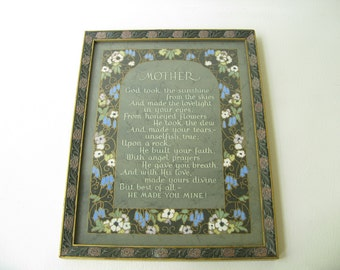Vintage Framed Mother Print, Mother Quote, Mother Gift