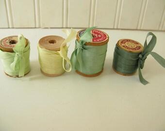 Silk Ribbon on Wood Spools, Wood spools, shades of green