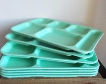 Set of Six Vintage Zylon Aqua Plastic Divided Lunch Trays