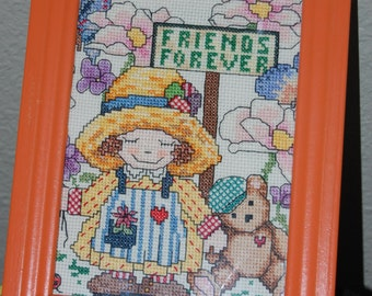 """FRIENDS FOREVER - Little Girl and Teddy Bear..""""Completed and Framed Cross Stitch"""""""