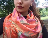 Beautiful Abstract/Floral Print Scarf,  Recycled Sari Pure Silk Scarf (20x68)
