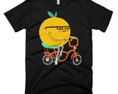 Orange Riding a Bike (Middle School Mustache T-shirt by Colin Walsh)