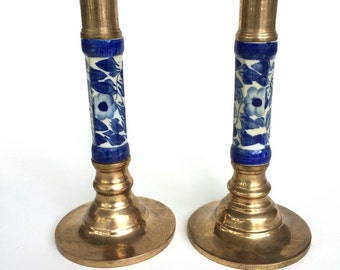 Pair of Brass Candlesticks with Cobalt Blue Ceramic: Made in Thailand