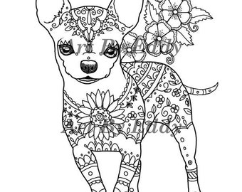 Chihuahua coloring etsy for Chihuahua coloring pages