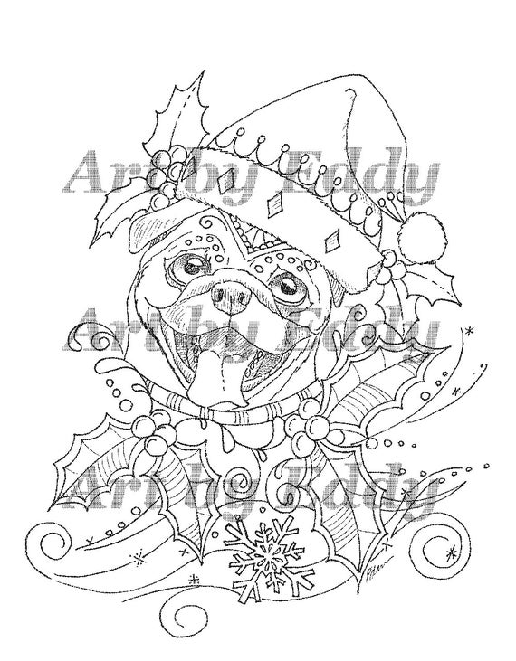 Designed Pug Coloring Page