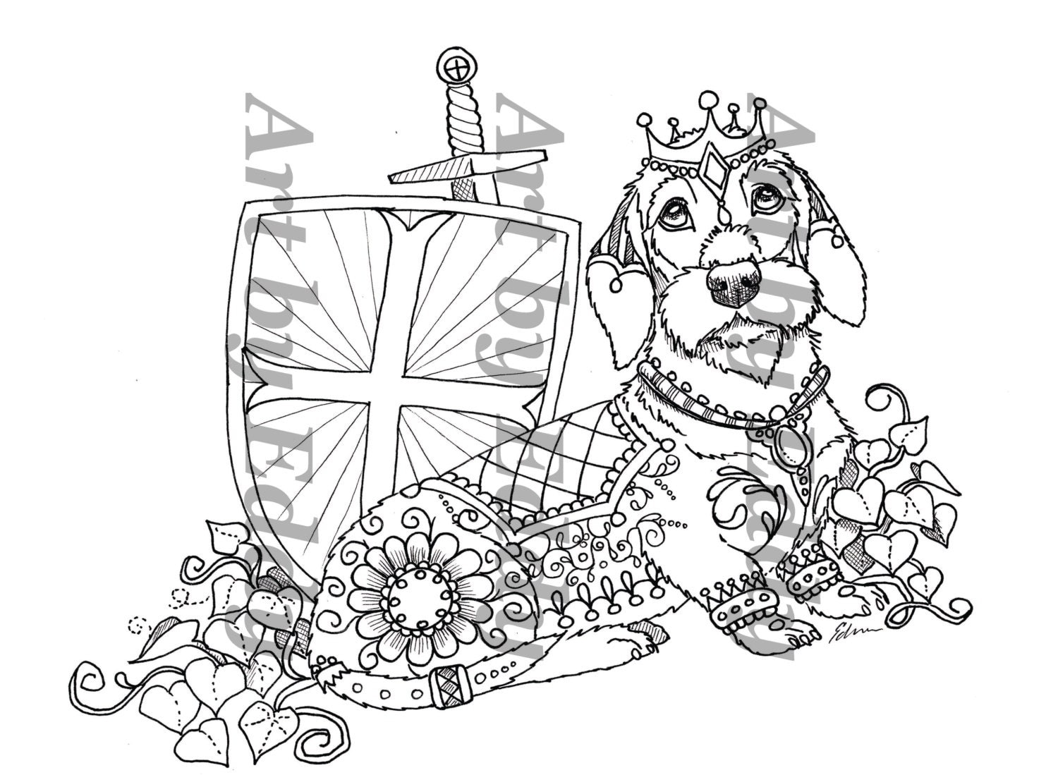 art of dachshund single coloring page wire haired king