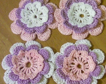 4 flowers crocheted appliques scrapbooking sewn on home decor handmade embellishments
