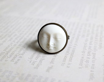 Moon Face Ring. handcarved bone moon ring. antique brass ring. adjustable ring. birthday gift
