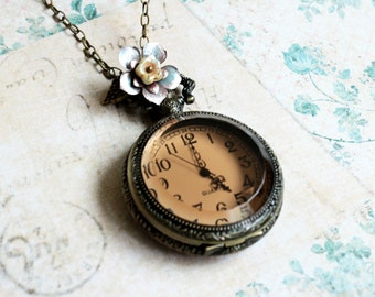 Pocket Watch Necklace. amber glass pocket watch. vintage style pocket watch with handmade flower.