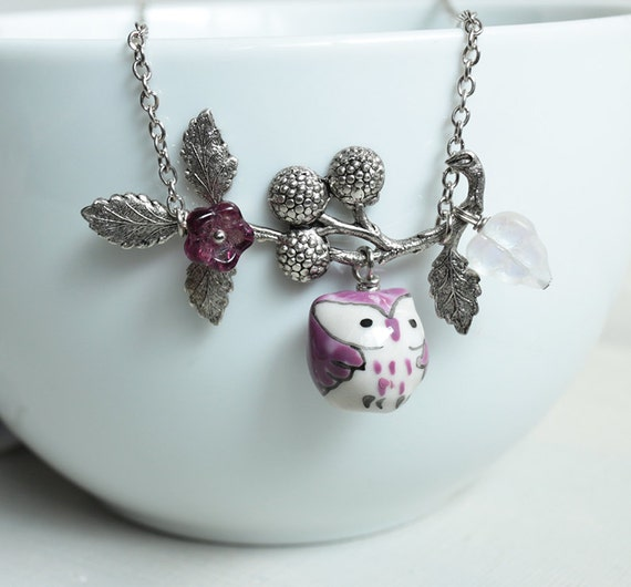 Purple Owl Necklace. purple porcelain owl and berry branch necklace.