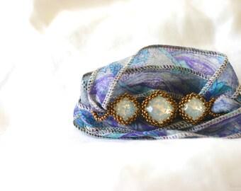 Sari Ribbon and Triple Swarovski Crystal Bracelet