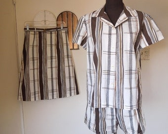 Vintage 60's 3-Piece Skirt, Shorts and Shirt Set, Brown Black and White Plaid Cotton,  Small to Medium, Waist 28