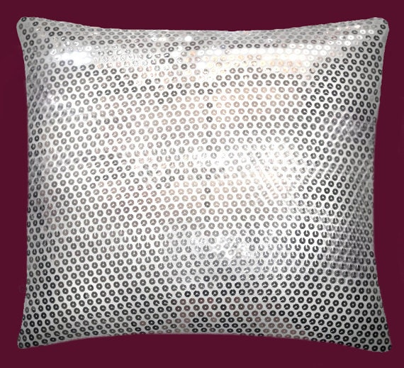 Modern Silver Pillow : Silver Sequin Throw Pillow 16?16 Modern Style New fancy