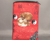 Eyeglass or Sunglasses Case - Padded Zippered Pouch - Cats - Yin-Yang