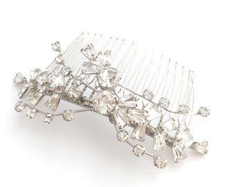 Vintage Clear Rhinestone Bridal Hair Comb, Crystal Floral Spray Brooch to OOAK Silver Hair Accessory, Crystal Rhinestone Head Piece