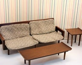 Midcentury Modern Mattel Doll Furniture 1958 Living Room Set Sofa End Table Coffee Table Chair Cushion