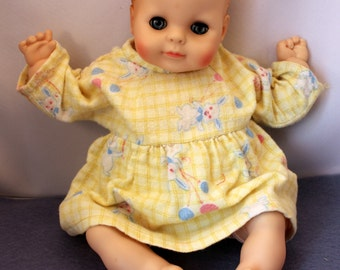 Doll Clothes Yellow Gingham Flannel Dress Pajamas Bunny Rabbit Print Vintage Handmade
