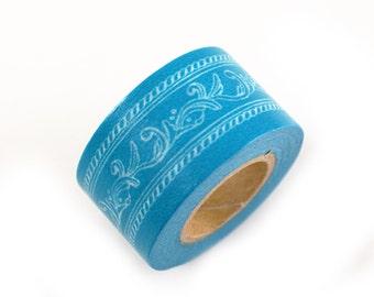 MASTE teal blue crown molding masking tape - crown molding scroll design tape - japanese washi tape