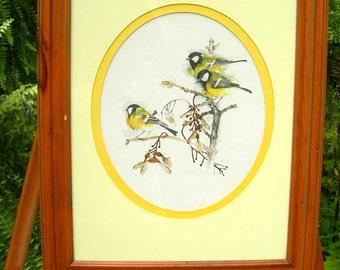Vintage Academy Arts Danish Watercolors Bird Print-Framed Under Glass