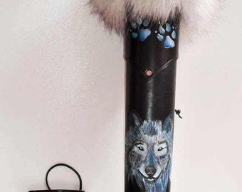 Archery Leather Set Hand Tooled Leather Blue Wolf