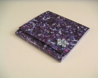 Blue Speckled Abstract Sticky Notes Pad with Blue Flower Button