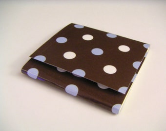 Dark Brown Sticky Notes Pad with Pastel Blue and White Polka Dots