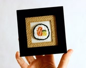 Ready to Ship! Sushi in a Mini Frame. Salmon Avocado Roll. Punchneedle Embroidery Fiber Art. Home, Office, Kitchen Decor. Harp and Thistle