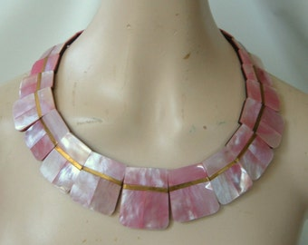 Vintage Pink Cleopatra Necklace Choker Collar Mother of pearl Lucite Laminate